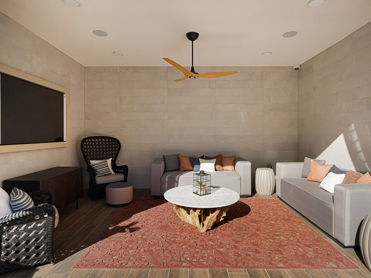 Poolside Outdoor Cabana with Flat Screen TV Wood Ceiling Fan Modern Beachy Furniture at The Club at Enclave Apartments in Chula Vista, CA