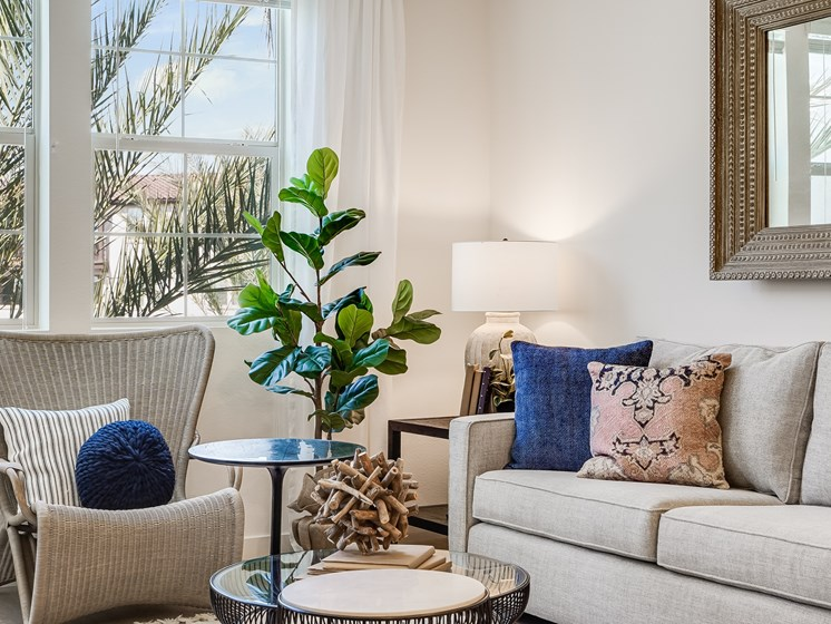 Cozy Corner with Large Window Natural Light Modern Furniture at The Club at Enclave Apartments in Chula Vista, CA