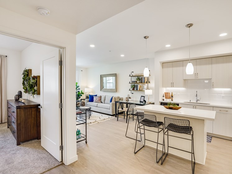 Open Design Layout One Bedroom Modern Kitchen at The Club at Enclave Apartments in Chula Vista, CA