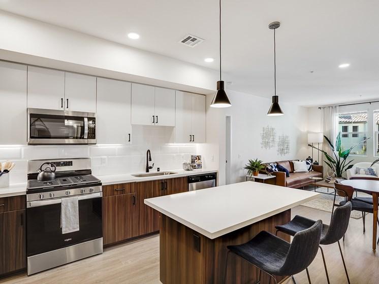 Modern Kitchen Open Layout View to Living Room Plan Wood Flooring Black Matte Pendant Lighting