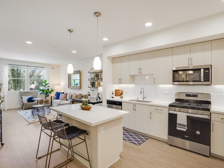 Modern Open Layout One Bedroom with Luxury Wood-Style Flooring and Natural Light at The Club at Enclave Apartments in Chula Vista, CA