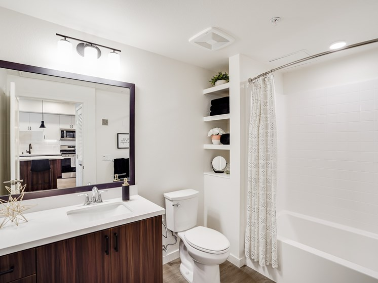 Gorgeous Modern Penthouse Bathroom with Storage and Oversized Bathtub at The Club at Enclave Apartments in Chula Vista, CA