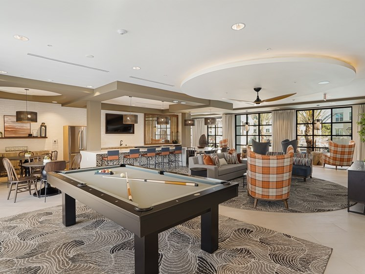 Pool Table Clubhouse Lounge Recreation Space The Club at Enclave Apartments Chula Vista