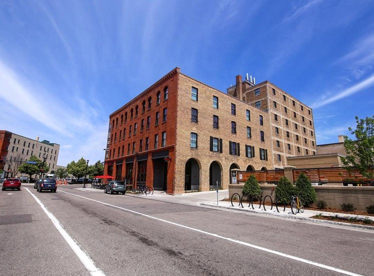 Street View of Brick Exterior at 700 Central Apartments in Minneapolis, MN