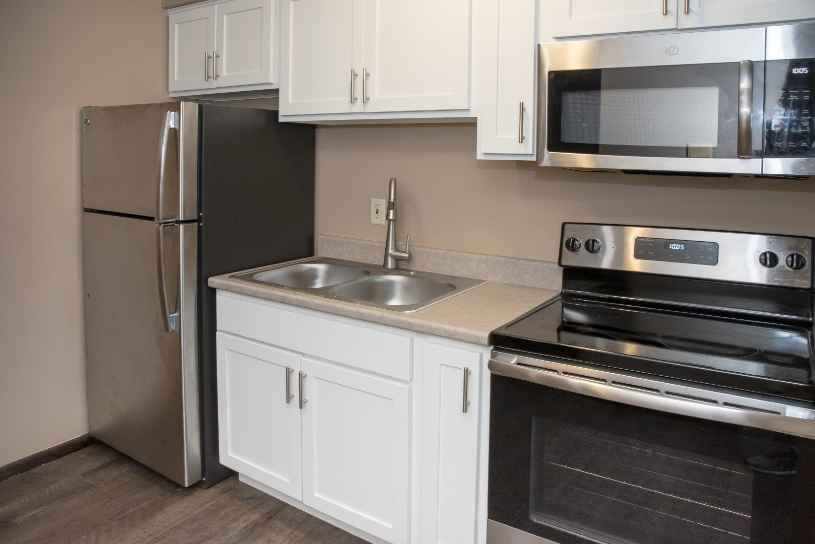 Studio apartment, kitchen with stainless steel appliances