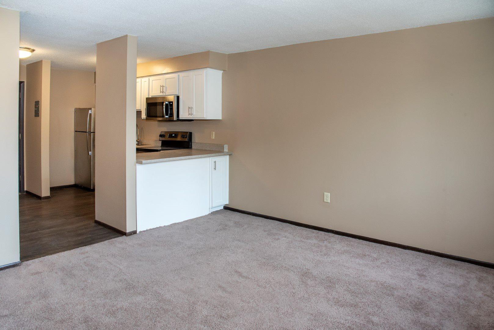 upgraded studio apartment, carpet in living space