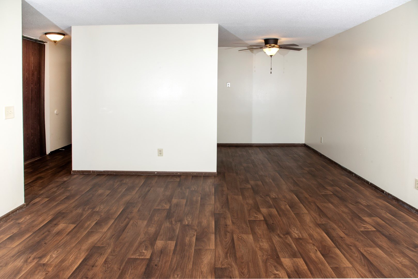 Vinyl wood look flooring throughout living spaces and kitchen