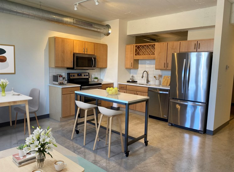 View Of Bright Kitchen at 700 Central Apartments, Minneapolis, 55414