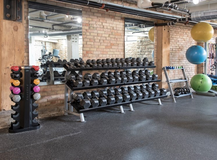 Fitness Center with Modern Equipment at 700 Central Apartments, Minneapolis, MN