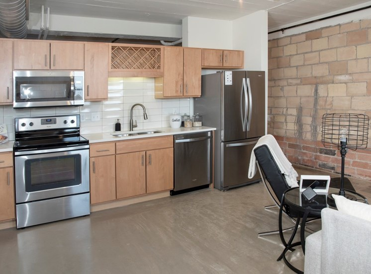 Well-Organized Kitchen at 700 Central Apartments, Minneapolis, MN