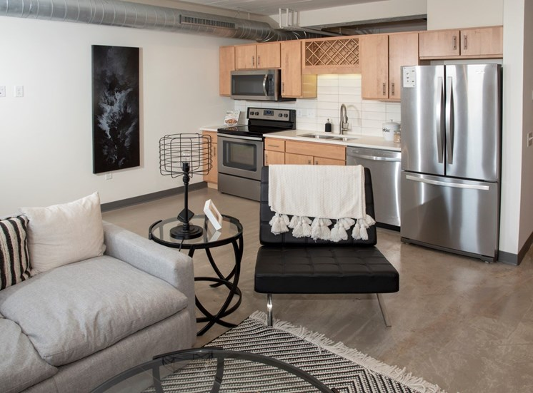 Open Kitchen with Living Room at 700 Central Apartments, Minneapolis, MN