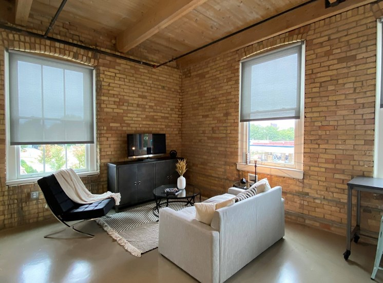 Contemporary Living Room With Sofa at 700 Central Apartments, Minneapolis, 55414