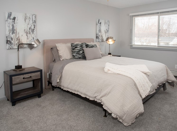 bedroom 2, bed set with night stand and large window