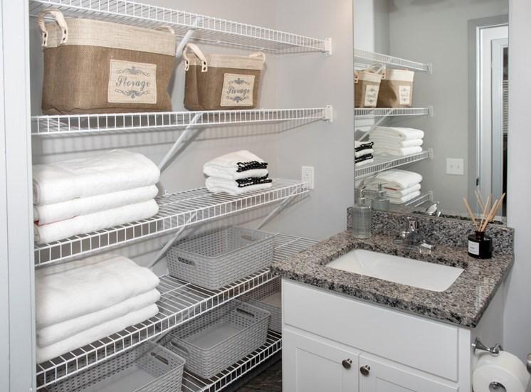 Bathroom vanity with exterior storage