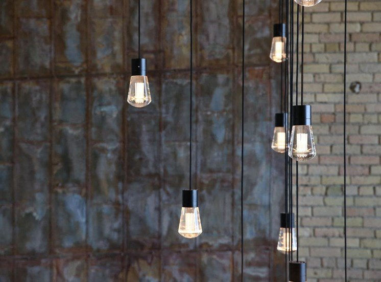 Modern Hanging Lights in Lobby at 700 Central Apartments, 700 Central Avenue, Minnesota