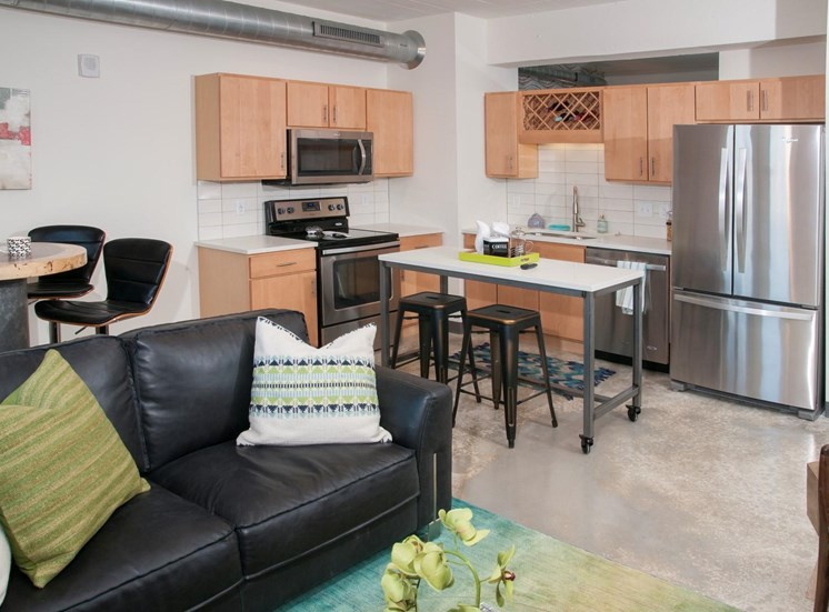 Minneapolis MN Apartment Open Floor Plan with Cement Flooring, 700 Central Apartments