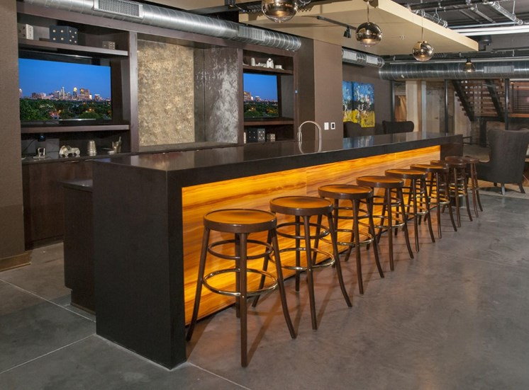 Bar Seating in Club Room at 700 Central in Minneapolis, MN