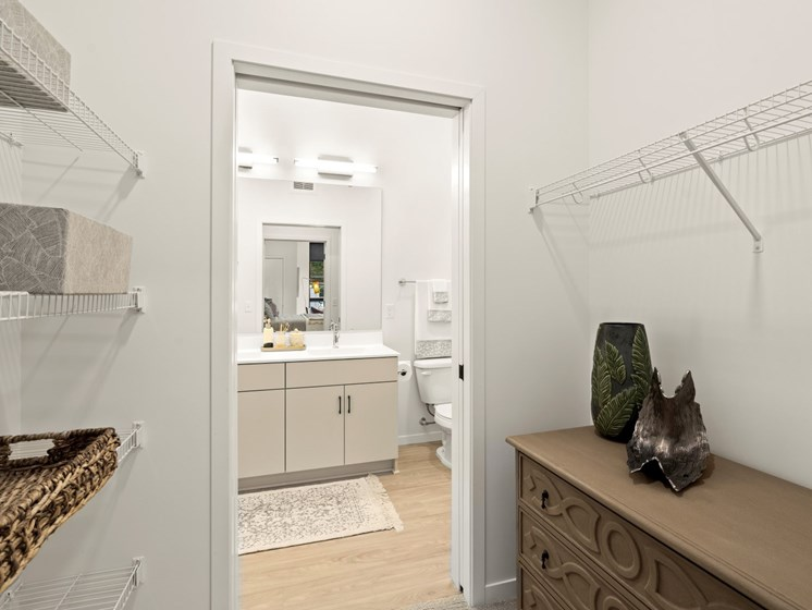 Bathroom With Adequate Storage at The Hill Apartments, Minnesota, 55103