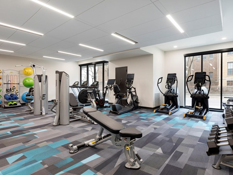 The Hill fitness center with free weights