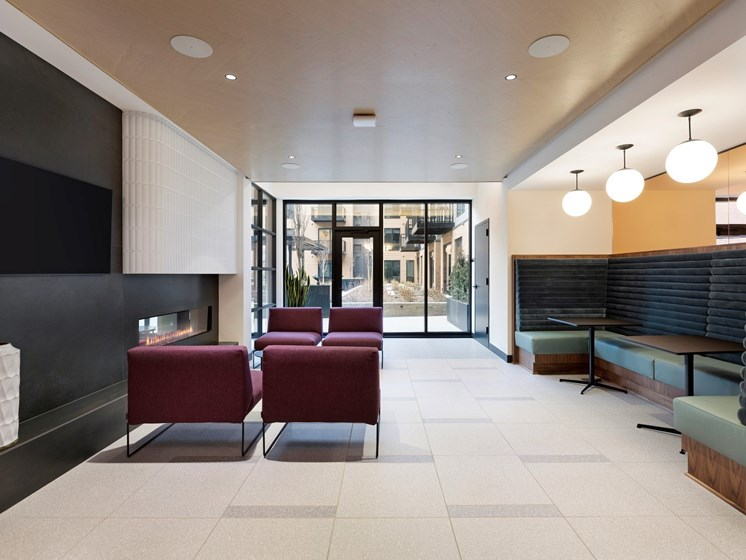 Lobby With Views at The Hill Apartments in St Paul, Minnesota