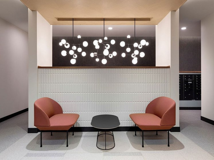 Lobby Lounge with Modern Decor and Details at The Hill Apartments in St Paul, MN