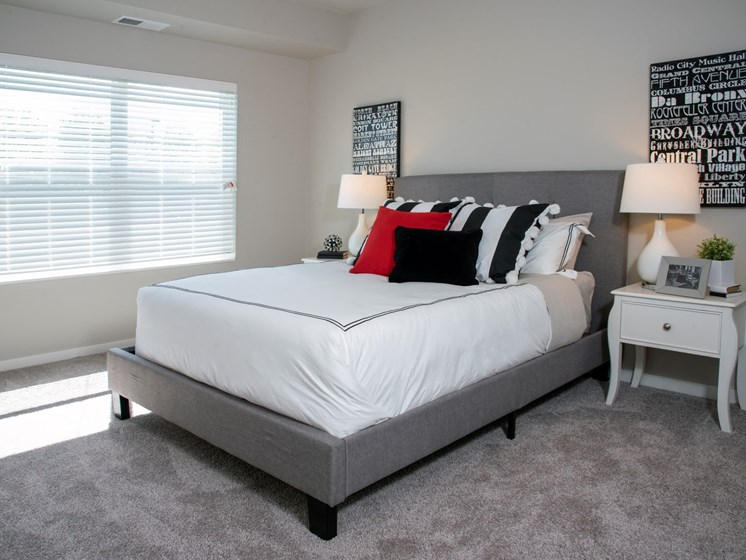 Large carpeted bedroom at The Sixton, Shakopee, MN 55379