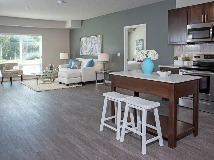Large kitchen and living space at The Sixton apartments, Shakopee