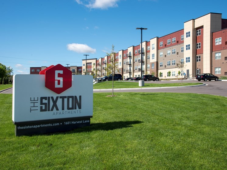 The Sixton Apartments monument sign and exterior, Shakopee, MN 55379