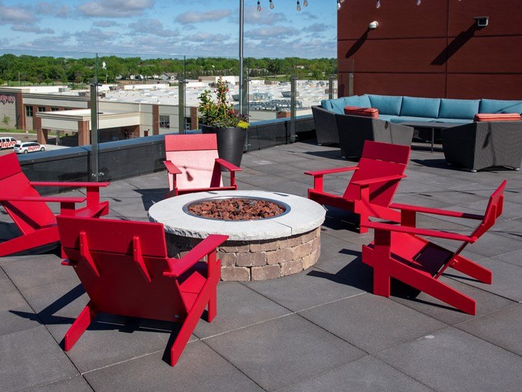 Rooftop fire pit and lounge The Sixton, Shakopee, MN 55379