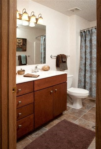 Bath vanity with lots of storage and full bath/shower