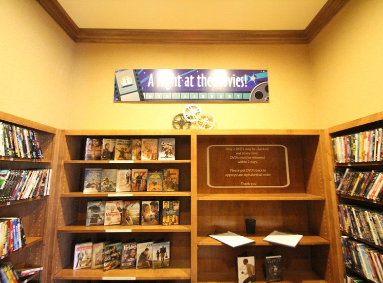 This is a picture of the dvd library in the resident clubhouse at Nantucket Apartments, in Loveland, OH.