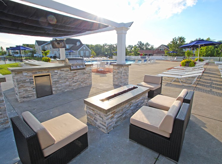 This is a picture of the fire pit in the pool area at Nantucket Apartments, in Loveland, OH.
