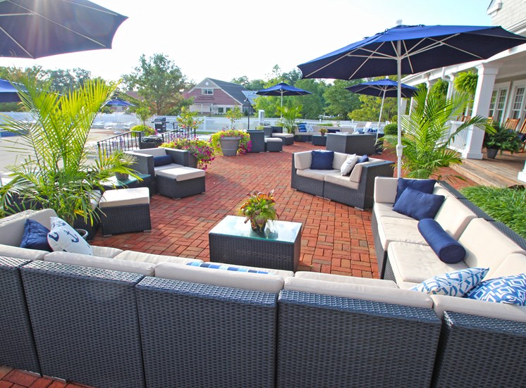 This is a picture of the pool deck at Nantucket Apartments, in Loveland, OH.