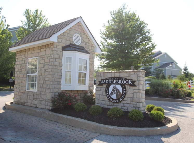 This is a photo of the gate house at the entrance to Trails of Saddlebrook Apartments in Florence, KY.