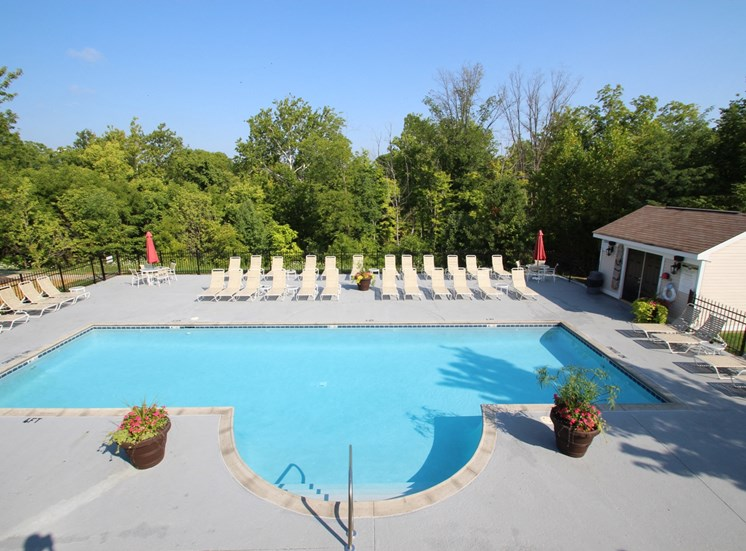 This is a photo of the pool area at Trails of Saddlebrook Apartments in Florence, KY.