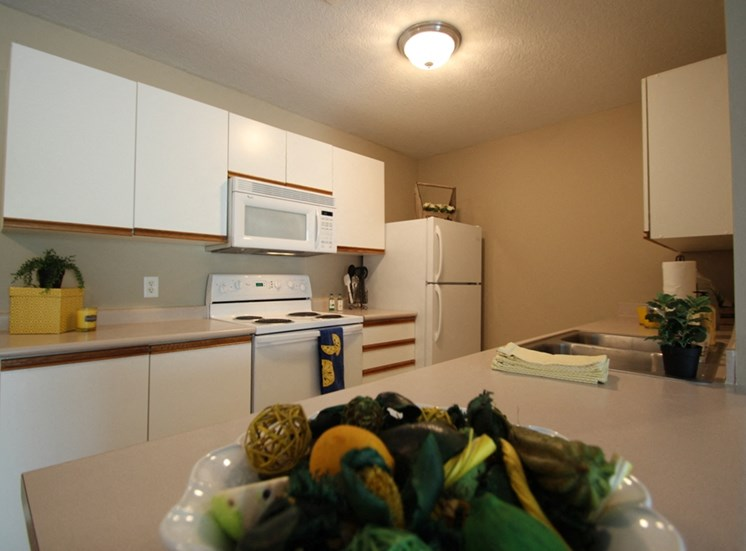 This is a photo of the kitchen in the 1040 square foot 2 bedroom Patriot at Washington Place Apartments in Washington Township, OH.