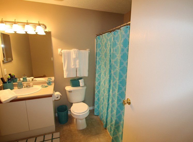 This is a photo of the master bathroom in the 1170 square foot 2 bedroom Freedom Balcony at Washington Place Apartments in Washington Township, OH.