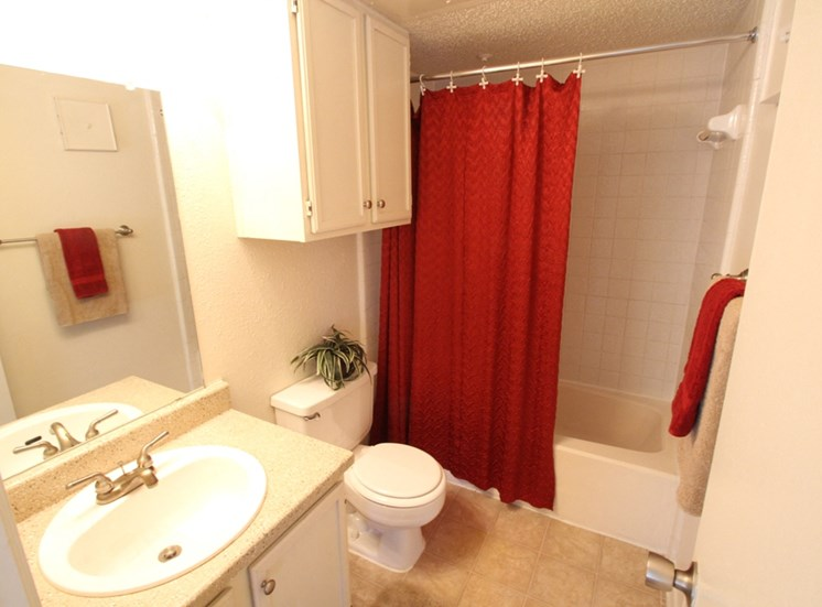 This is a photo of the bathroom of the 507 square foot efficiency apartment at The Boulders Apartments in Garland, TX.
