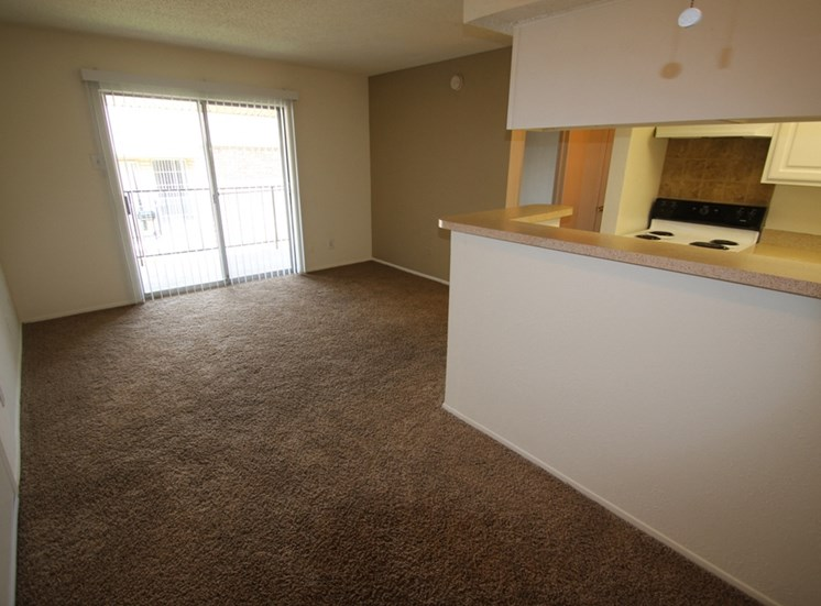 This is a photo of the living room of the 550 square foot 1 bedroom apartment at Canyon Creek Apartments in Dallas, TX