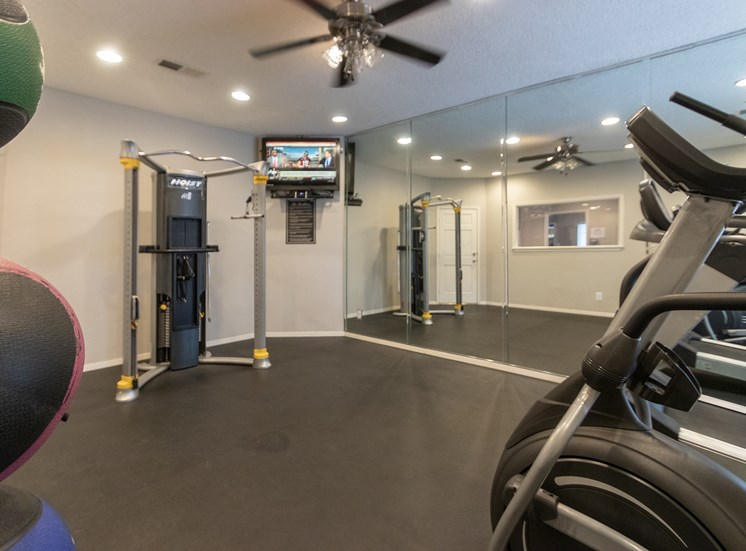 This is a photo of the 24-hour fitness center at The Boulders Apartments in Garland, TX.