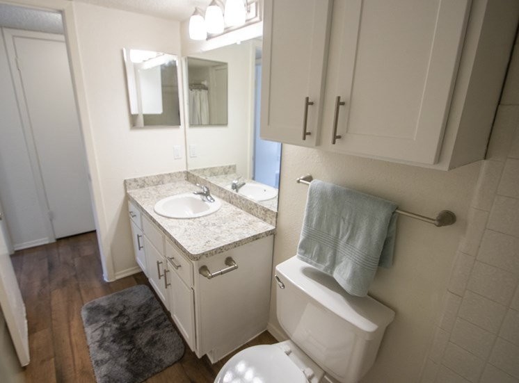 This is a photo of the bathroom in a 704 square foot 1 bedroom apartment at The Boulders Apartments in Garland, TX.