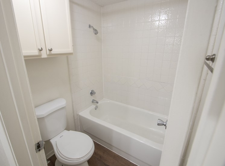 This is a photo of the master bathroom in a 1024 square foot 3 bedroom apartment at The Boulders Apartments in Garland, TX.