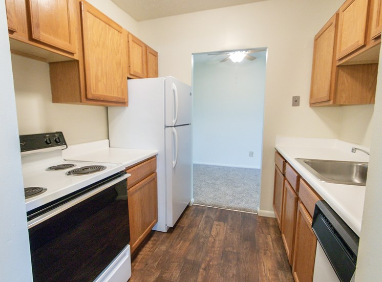 This is a photo of the kitchen in the 652 square foot, 1 bedroom, 1 bath A-style apartment at Blue Grass Manor Apartments in Erlanger, KY.