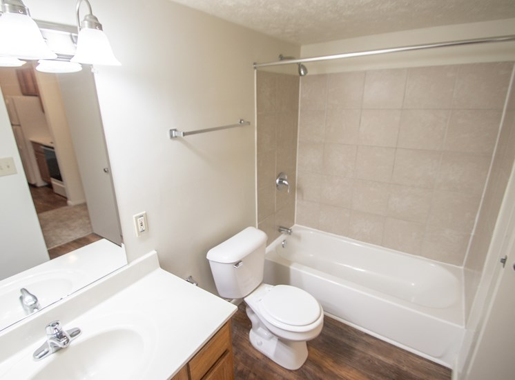 This is a photo of the bathroom in the 652 square foot, 1 bedroom, 1 bath A-style apartment at Blue Grass Manor Apartments in Erlanger, KY.