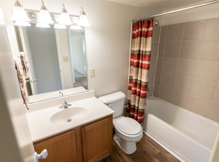 This is a photo of the bathroom in the 899 square foot, 2 bedroom, 1 and a half bath apartment at Blue Grass Manor Apartments in Erlanger, KY.