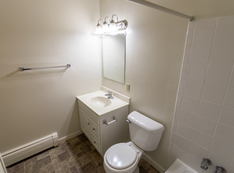This is a photo of the bathroom in the 865 square foot, 2 bedroom, 1 and a half bath apartment at Blue Grass Manor Apartments in Erlanger, KY.