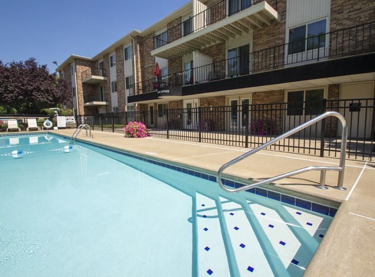 This is a photo of the pool area at Blue Grass Manor apartments in Erlanger KY.