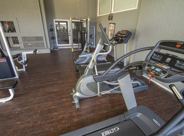This is a photo of the fitness center at The Biltmore Apartments in Dallas, TX.
