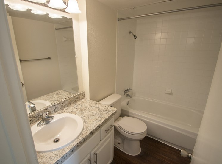 This is a photo of the bathroom of the 752 square foot 1 bedroom apartment with den at The Biltmore Apartments in Dallas, TX.