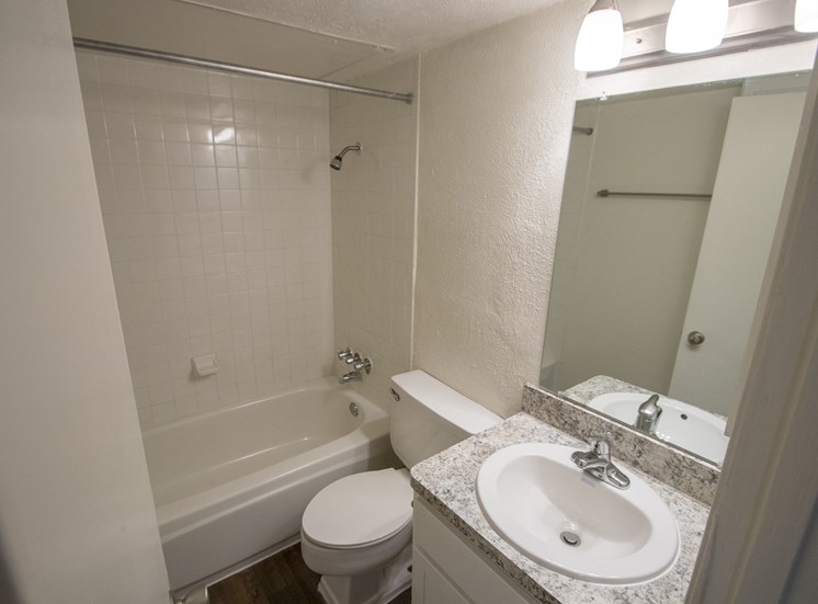 This is a photo of the bathroom of an upgraded 554 square foot 1 bedroom apartment at The Biltmore Apartments in Dallas, TX.
